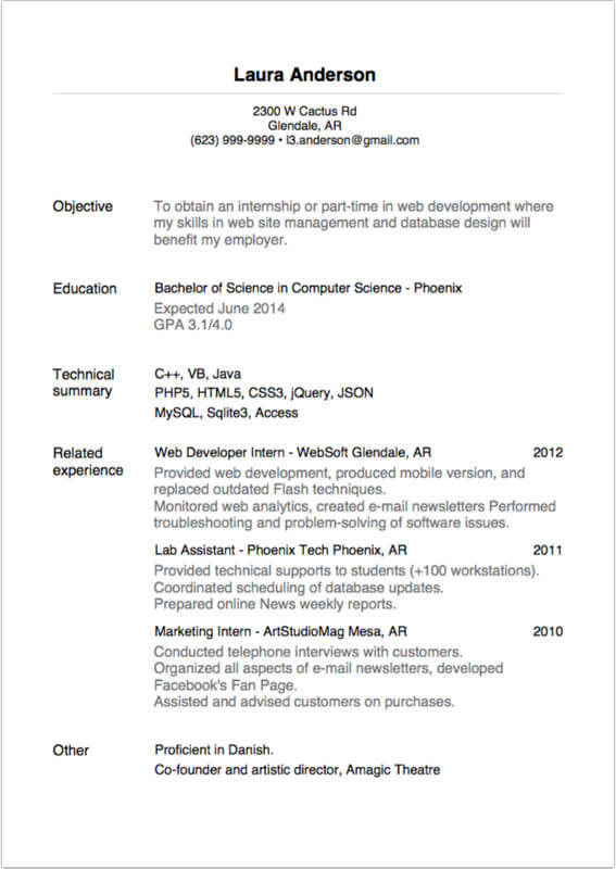 Internship Resume Examples. For Teenagers First Job Waitress Or
