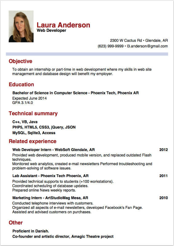Best Sample Resume For Internship. Home Resume Resume Format For