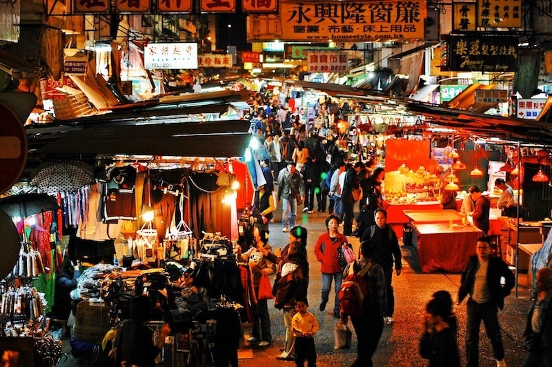 Chinese New Year in Hong Kong: Shopping at the Malls at Night Market