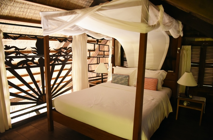 eco friendly hotel with wooden bed