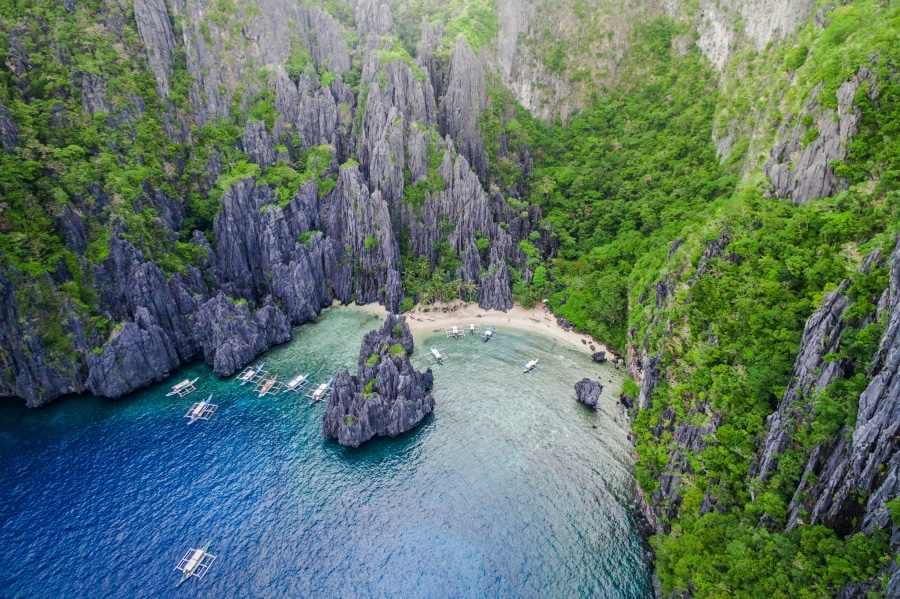Secret Lagoon in El Nido Aerial Shot