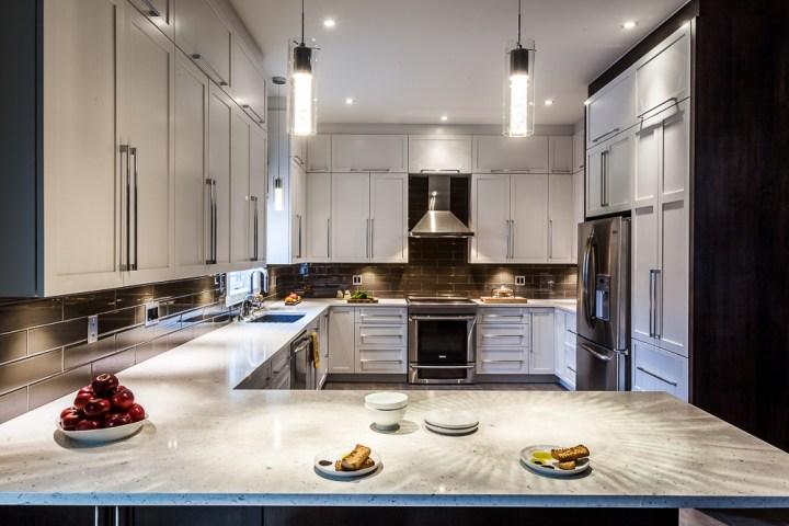 Classic white kitchen design with grey floor