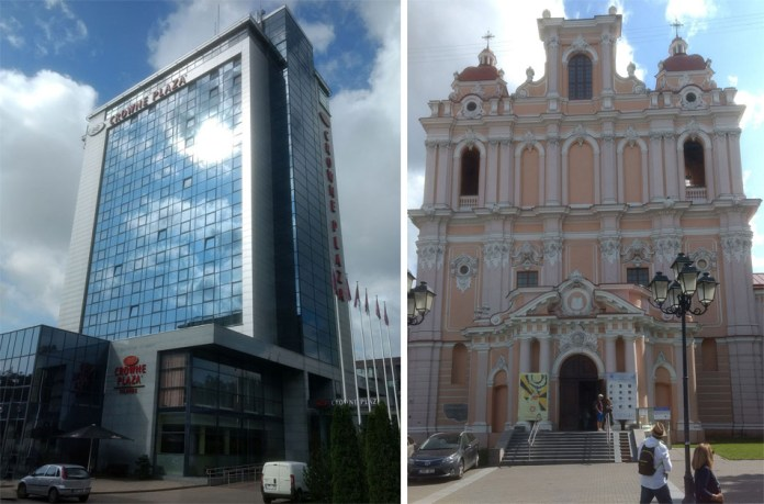 Crowne Plaza Hotel and St. Casimir church