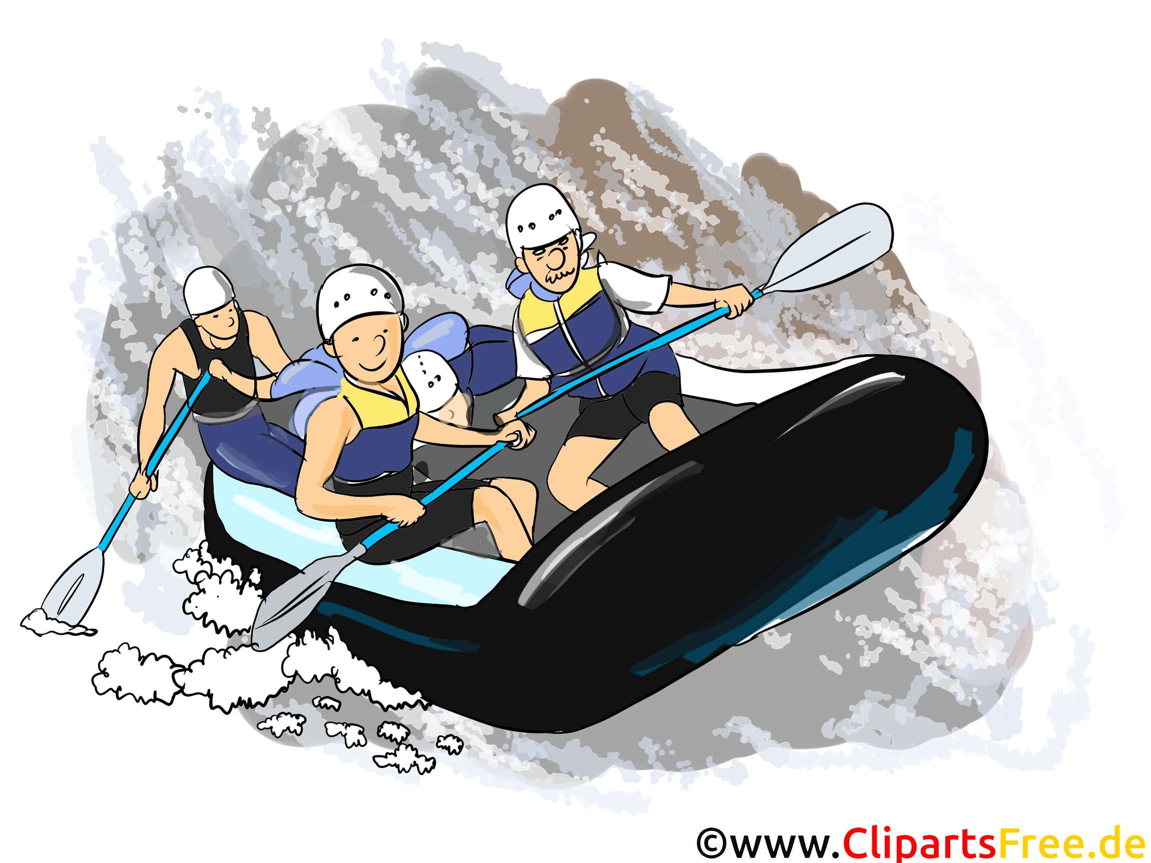 Rafting Clipart Picture Cartoon Comic Illustration