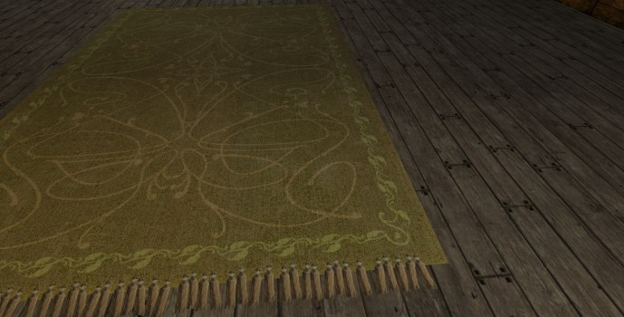 Large White 'Leaf Border' Rug