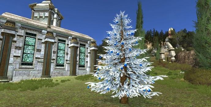 Silver Decorated Outdoor Yule-Tree