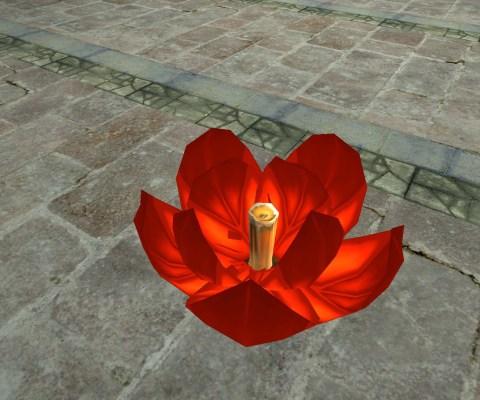 Red Floating Lantern – Half-Open
