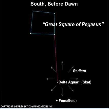 Radiant point of Delta Aquarid meteor shower