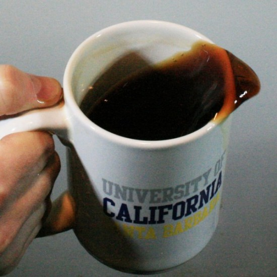 If you're drinking coffee in a steadily moving car or airplane, no problem. But if the car or plane speeds up or slows down, your coffee sloshes and maybe spills. Likewise, as long as Earth spins steadily, we can't feel it move. Image by H.C. Mayer and R. Krechetnikov, via Science.
