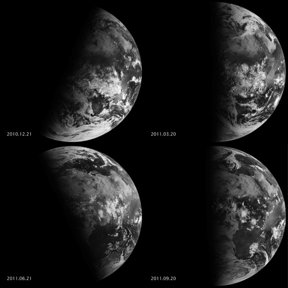Earth's seasons result from the tilt of our planet's axis with respect to our orbit around the sun.  Upper left: northern winter.  Lower left: northern summer.  The images on the right show equinoxes.  Images via NASA