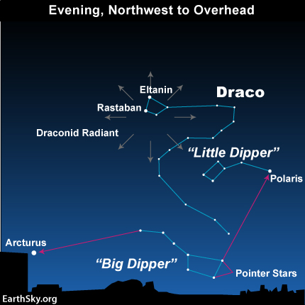 Draconid meteor shower, October 8, 2012 - map from EarthSky.org