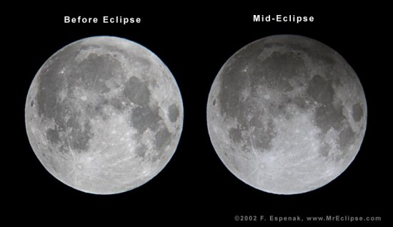 View larger. | Left, an ordinary full moon with no eclipse. Right, full moon in penumbral eclipse on November 20, 2002. Master eclipse photographer Fred Espenak took this photo when the moon was 88.9% immersed in Earth's penumbral shadow.