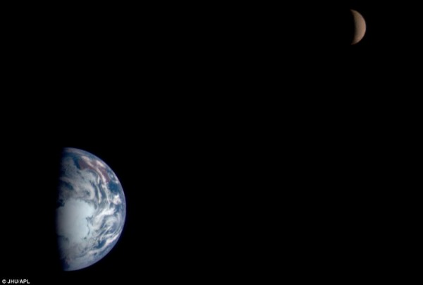 This mosaic shows images of Earth and the moon acquired by the multispectral imager on the Near Earth Asteroid Rendezvous Spacecraft (NEAR) on January 23, 1998, 19 hours after the spacecraft swung by Earth on its way to the asteroid 433 Eros. The images of both were taken from a range of 250,000 miles (400,000 kilometers), approximately the same as the distance between the two bodies.  Read more about this image.