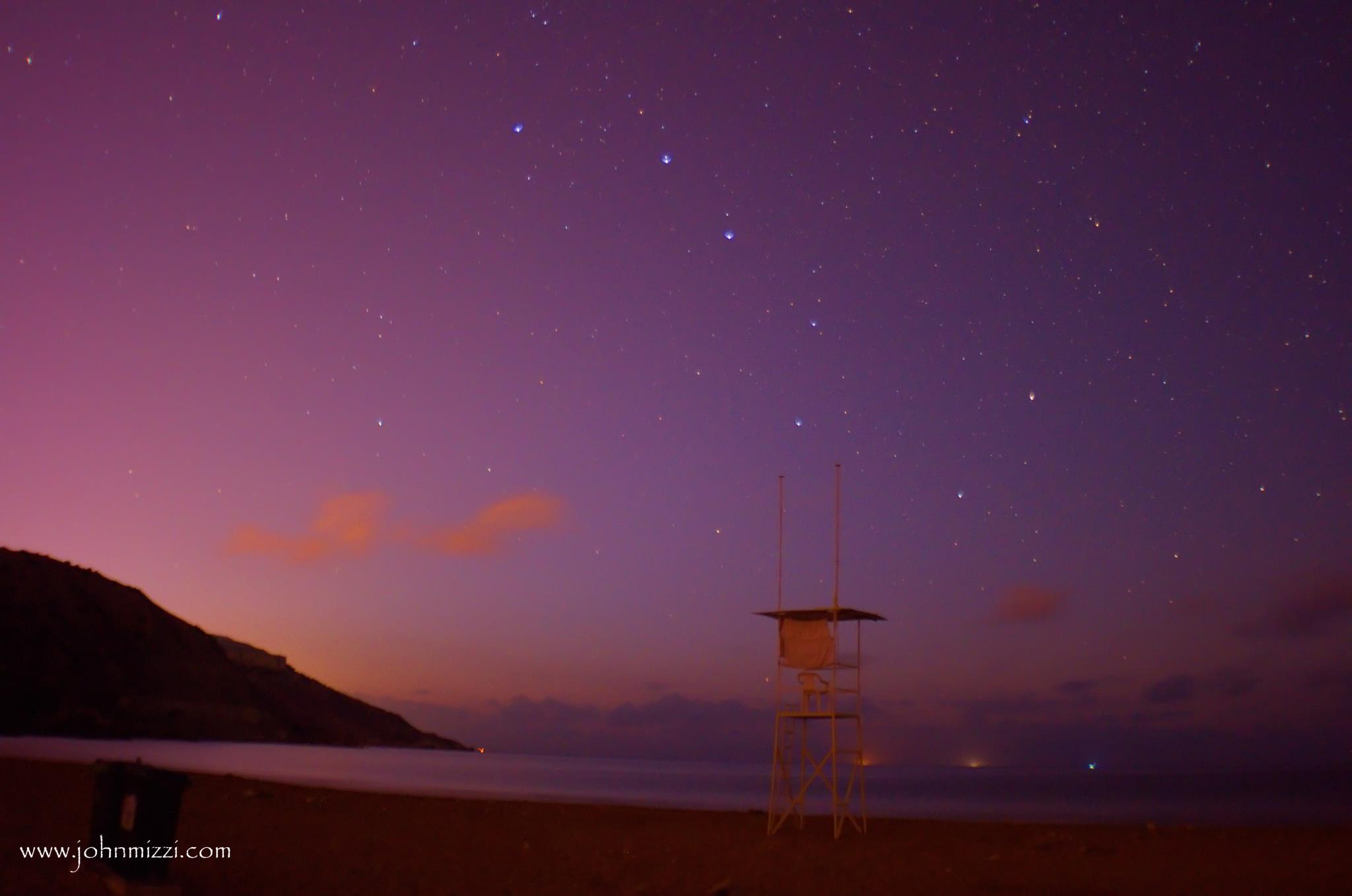Dusk sky at beach with Big Dipper
