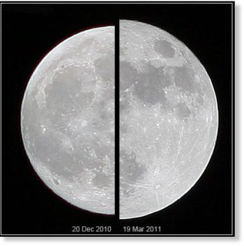 Photographs or other instruments can tell the difference between a supermoon and ordinary full moon.  The supermoon of March 19, 2011 (right), compared to an average moon of December 20, 2010 (left).  Image by Marco Langbroek of the Netherlands via Wikimedia Commons.