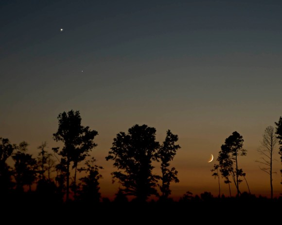 View larger. | Moon and Venus on September 7, as captured by EarthSky Facebook friend Ken Christison in North Carolina.  Thank you, Ken!  On Sunday evening - September 8 - the moon will appear much closer to Venus.  The Americas, in particular, will get a dramatically close view of the pair.