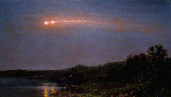 Painting of 1860 earthgrazer fireball by Frederic Edwin Church. Image credit: Wikimedia Commons