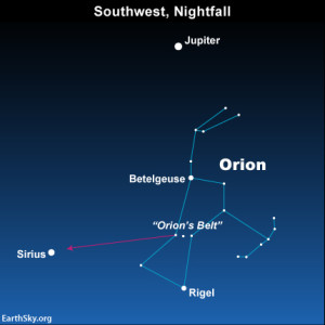 The constellation Orion serves as your guide to the planet Jupiter and the star Sirius in April 2014.