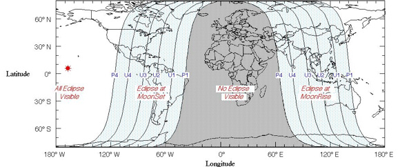 View larger. Worldwide eclipse map courtesy of NASA Eclipse Web Site.