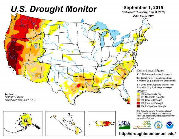 The ongoing drought in the U.S. West is not helping the wildfire situation in 2015. Current info about 2015's drought in the U.S. here