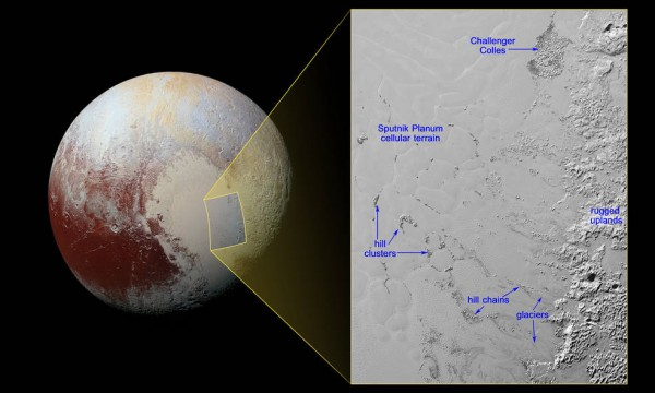 View larger.   Hills of water ice on Pluto 'float' in a sea of frozen nitrogen and move over time like icebergs in Earth's Arctic Ocean—another example of Pluto's fascinating geological activity. Image via NASA/JHUAPL/SwRI.