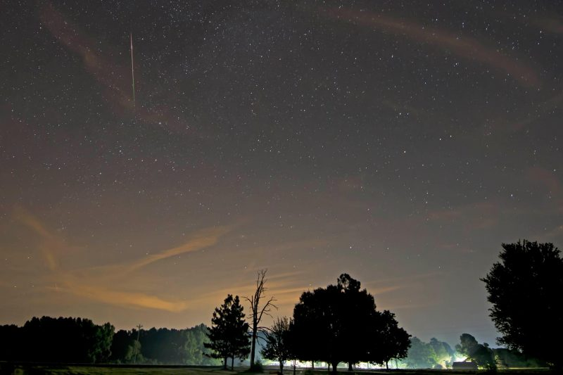 Early Perseid meteor caught on the morning of July 25, 2016 by Ken Christison.  Start watching for these meteors!  Thank you, Ken.