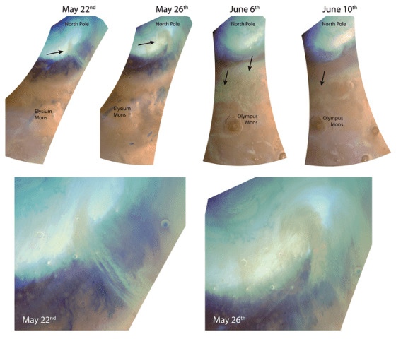4 satellite views showing bluish round area over tan landscape.