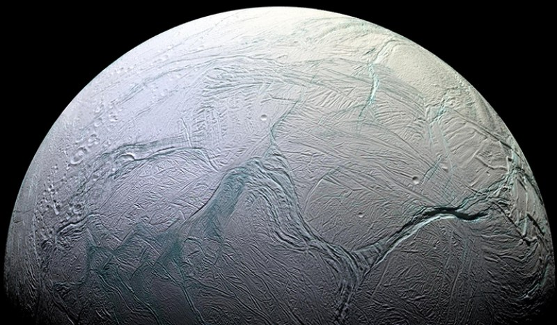 Cracks on surface of an icy moon.