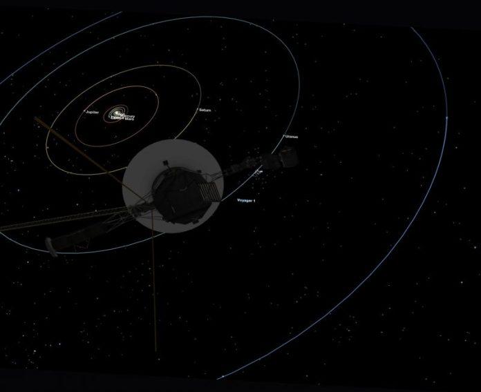 Diagramm der Planetenbahnen des Sonnensystems mit Raumfahrzeugen im Vordergrund.