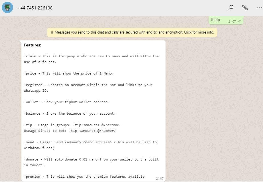 Nova dica de bot pode introduzir o Nano (NANO) para usuários do WhatsApp 1.6B 14