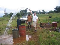Water… LOTS of water-The New Bore-Hole  Receives It's Electric Pump!