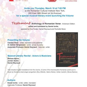 """""""Testament"""" – Anthology of Romanian Verse – American Edition launch in New York, March 16th 2017"""