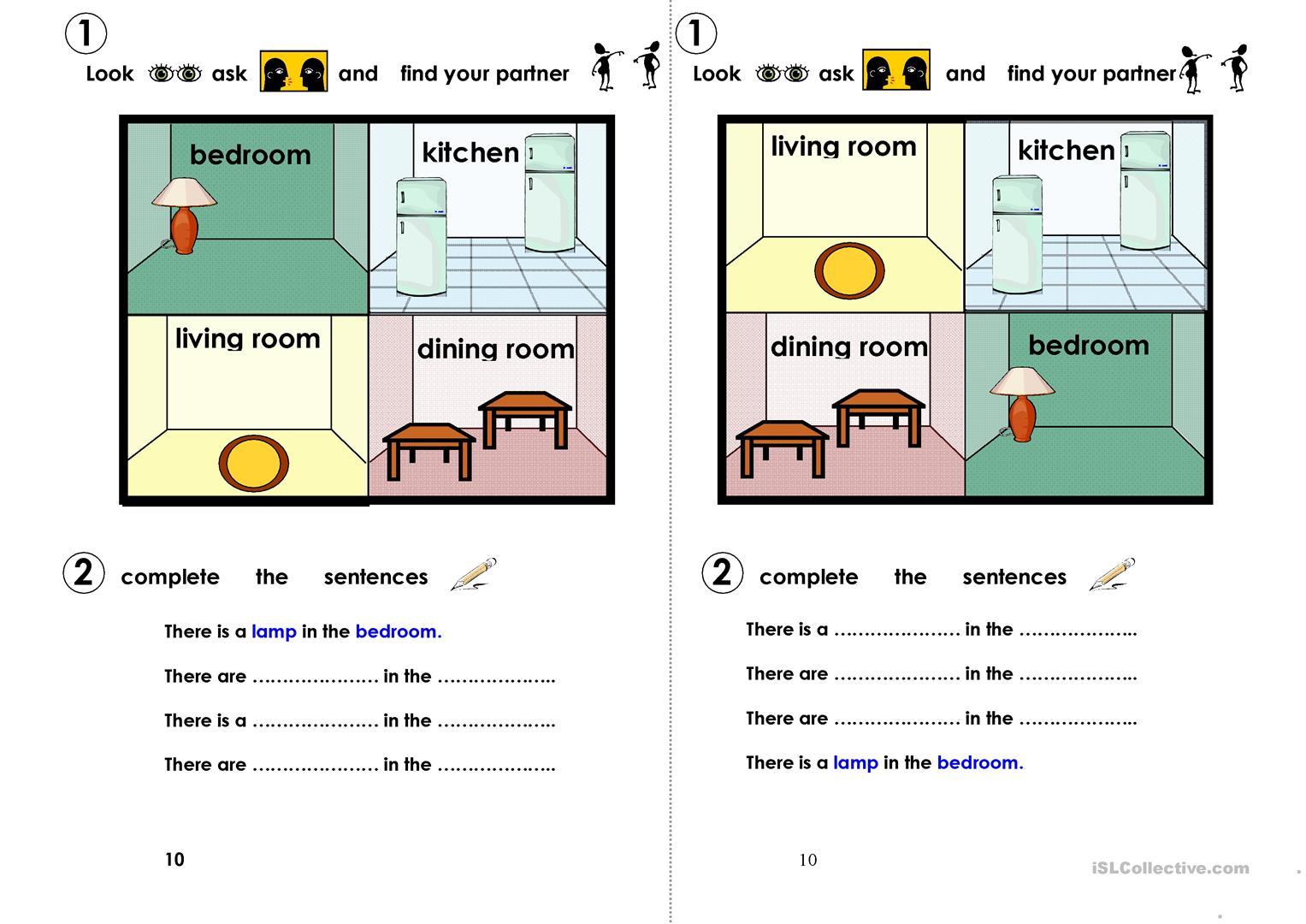 Find Your Partner Room In A House Worksheet