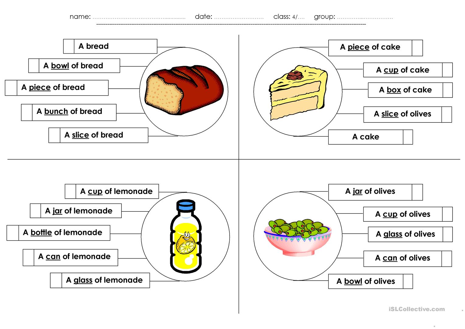 The Foods I Eat Multiple Choice Worksheet
