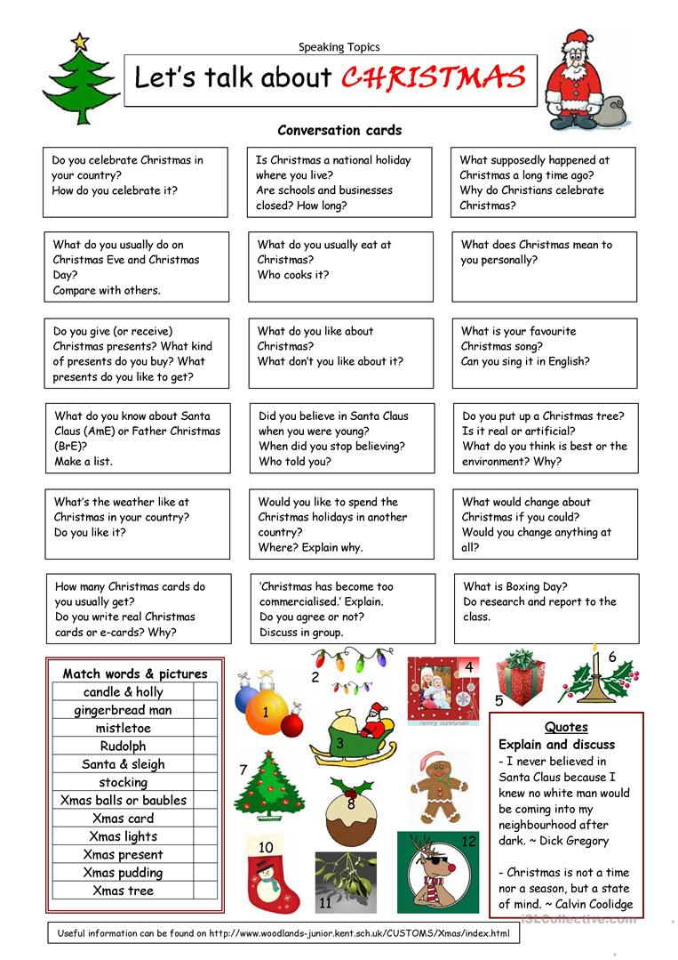 Let S Talk About Christmas Worksheet