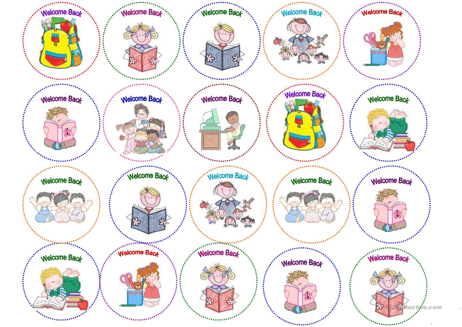 Welcome Back Stickers Worksheet