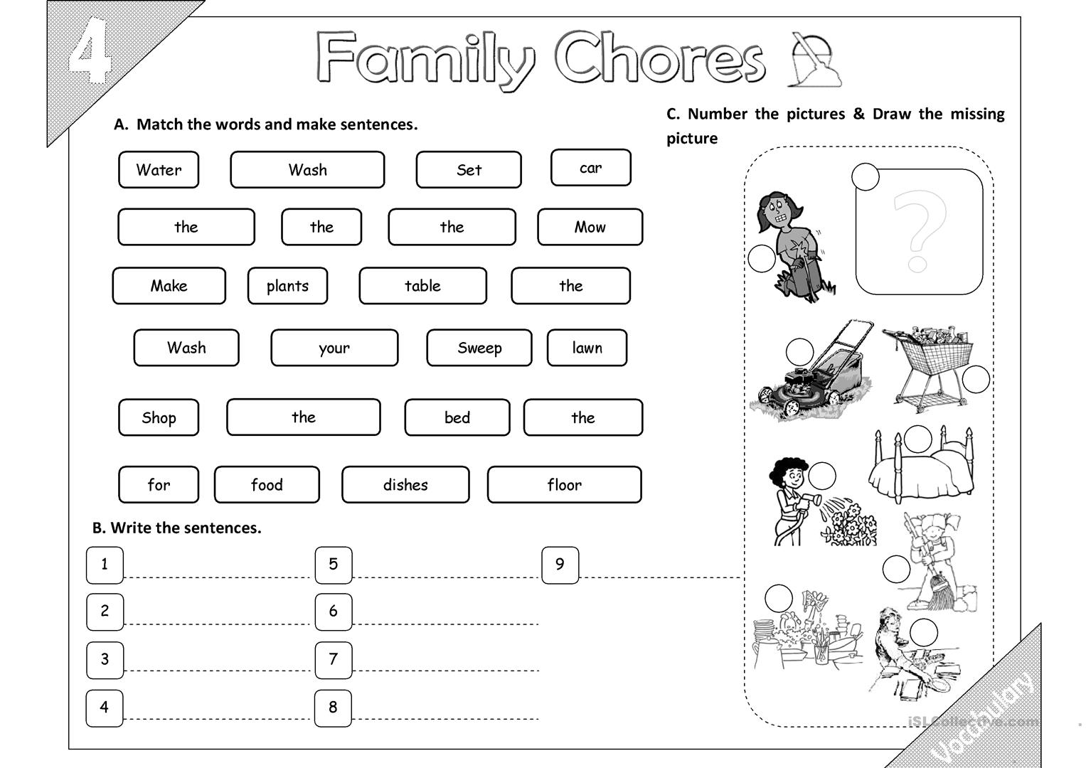 Family Chores Vocabulary 02 2pages Worksheet