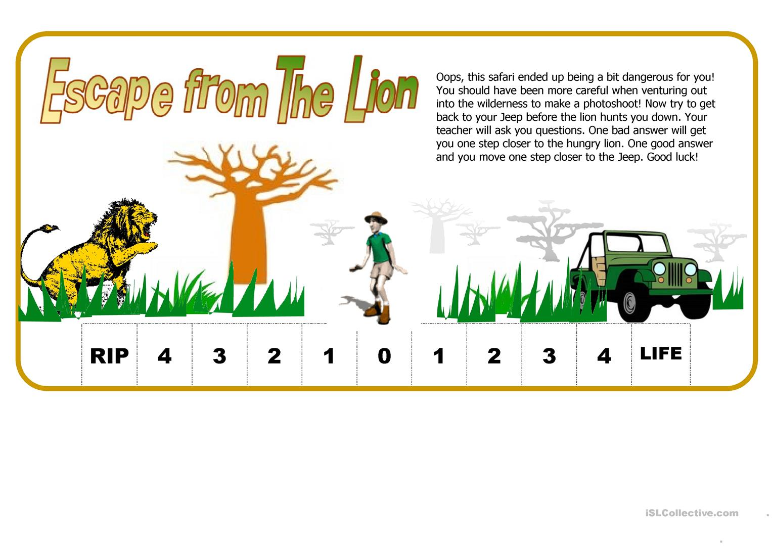 Escape From The Lion Fun Way To Test Students