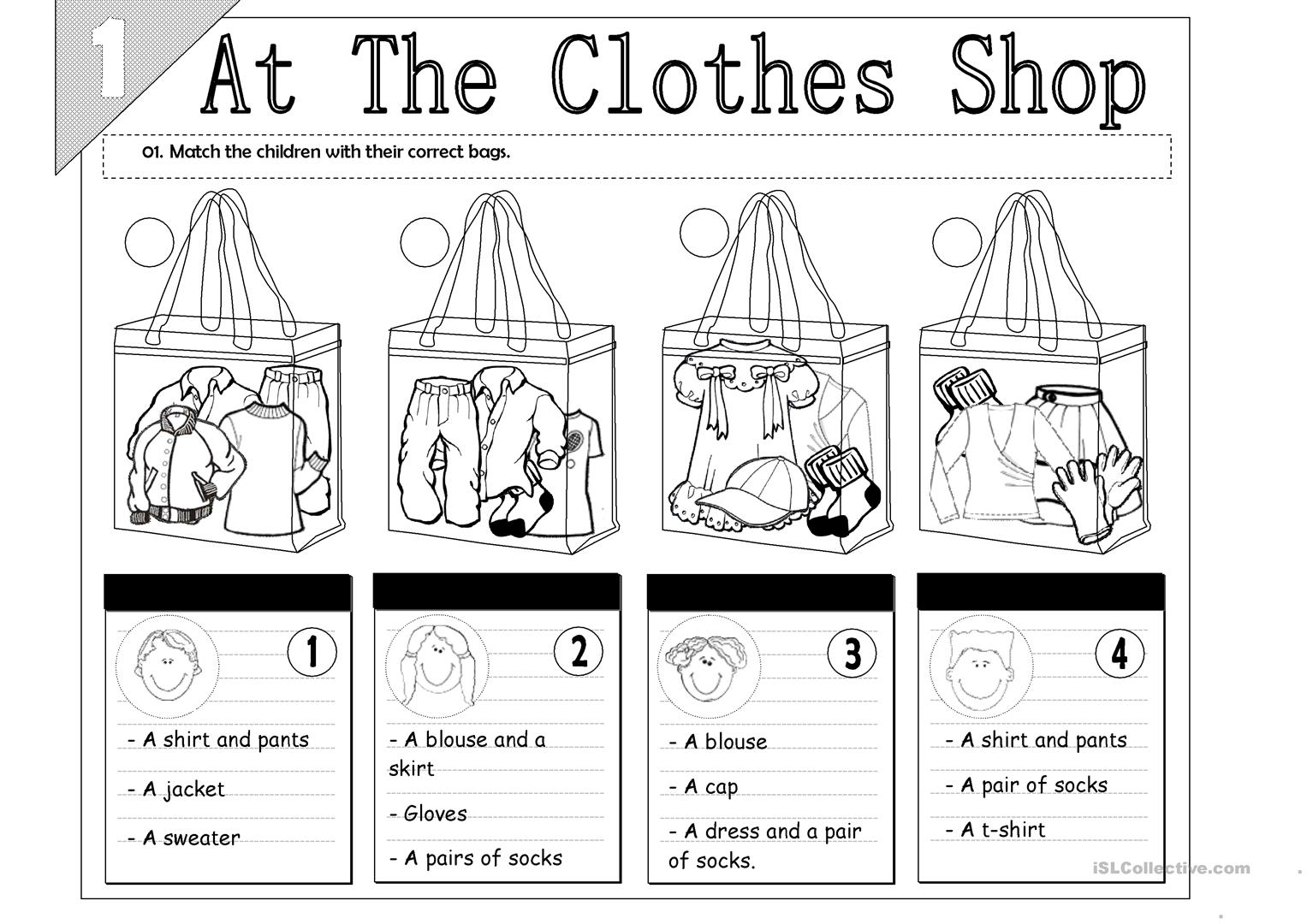 At The Clothes Shop Worksheet