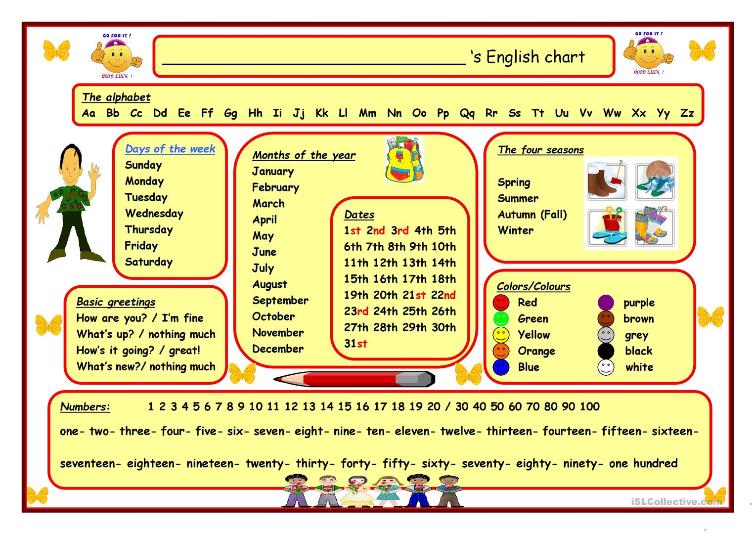 English Wall Chart Worksheet