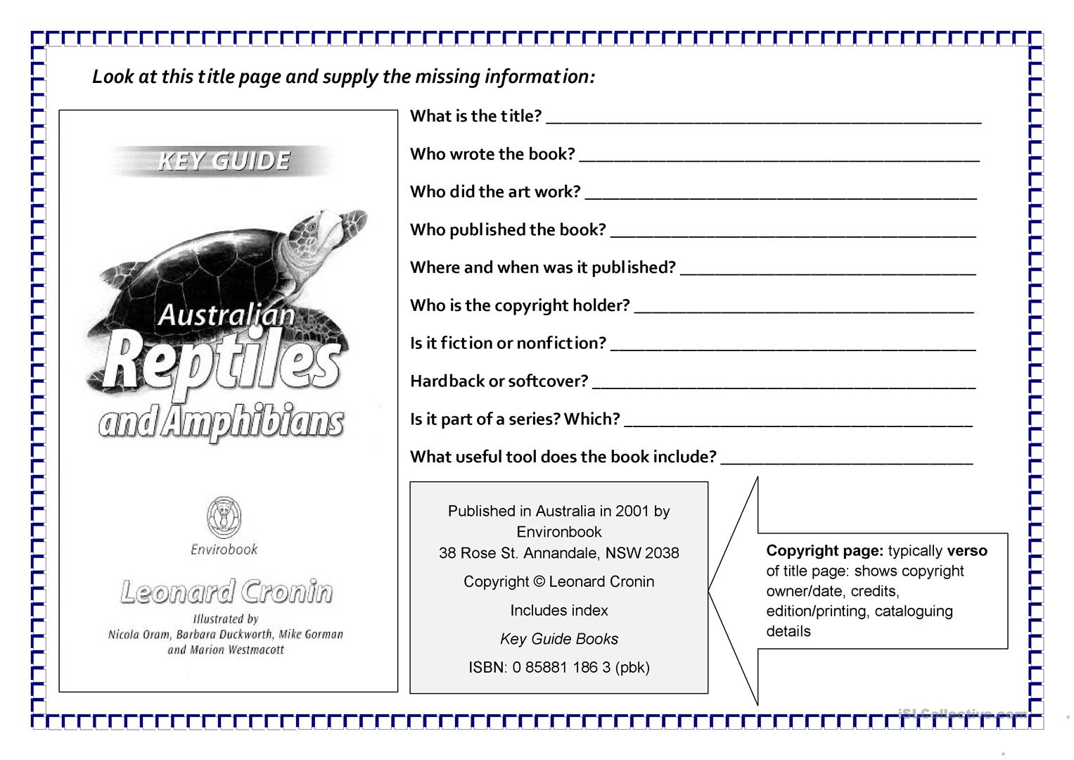 Underline Book Titles Worksheet