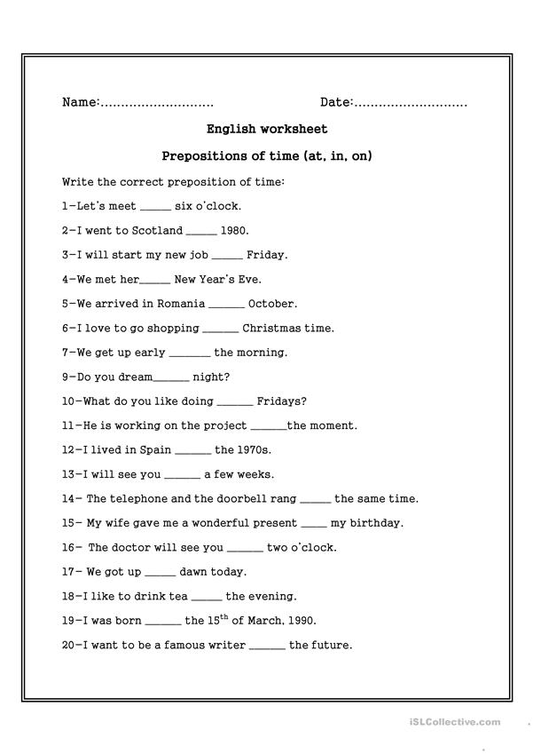 Prepositions Of Time On In At Worksheet