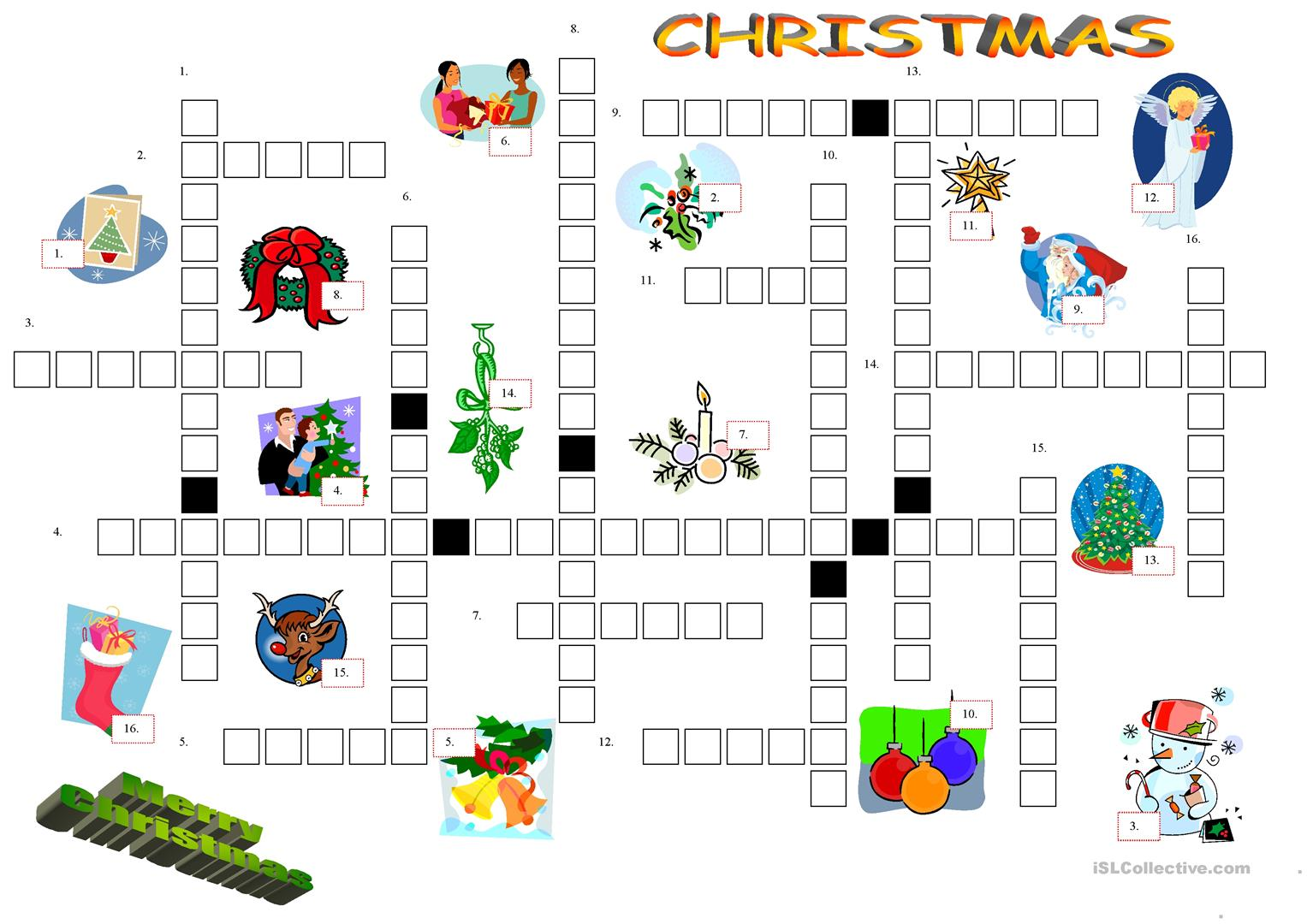 Christmas Crossword Worksheet