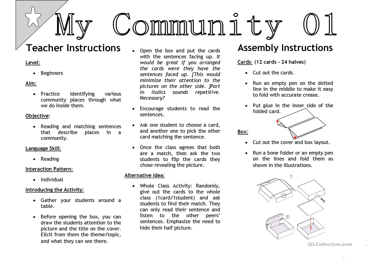 My Community 01 Sentenc Matching Activity Cards Worksheet