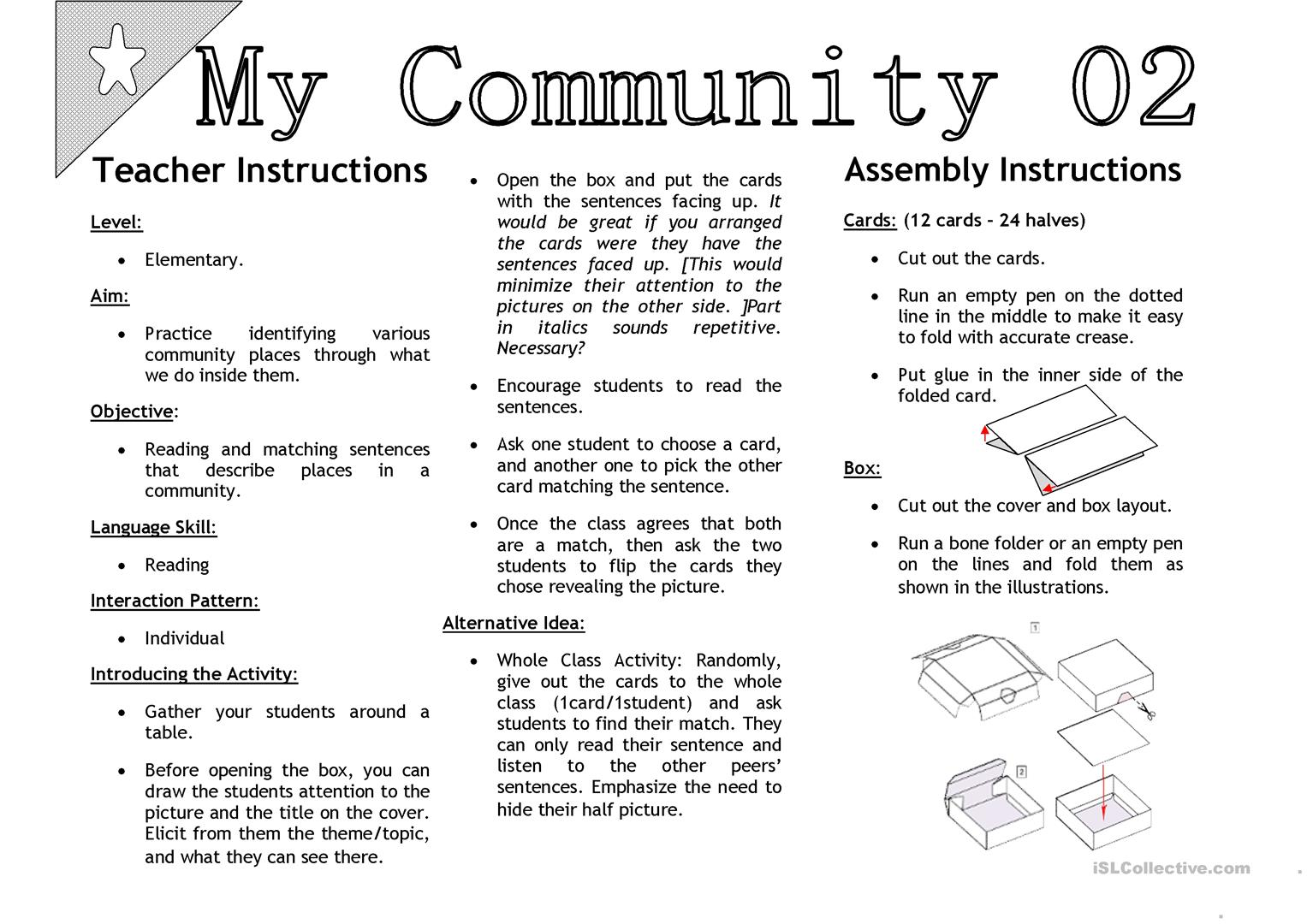 My Community 02 Sentenc Matching Activity Cards Worksheet