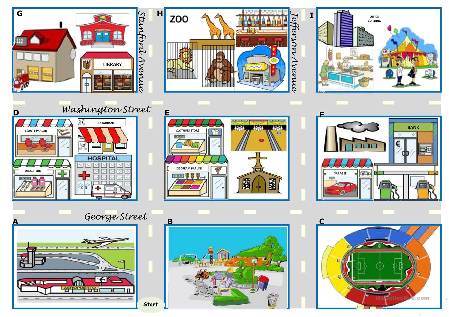 Asking For Directions There Be Prepositions Directions Map Boardgame 4 Tasks 24 Cards