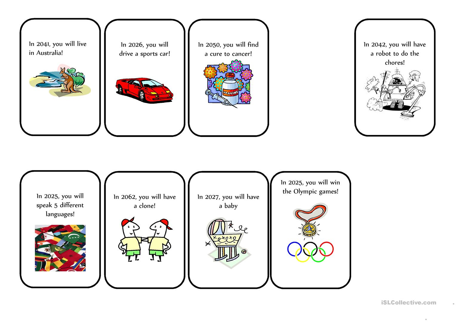 Fortune Teller Cards Worksheet