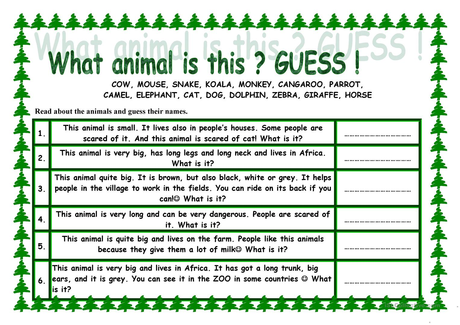What Animal Is This Guess Worksheet