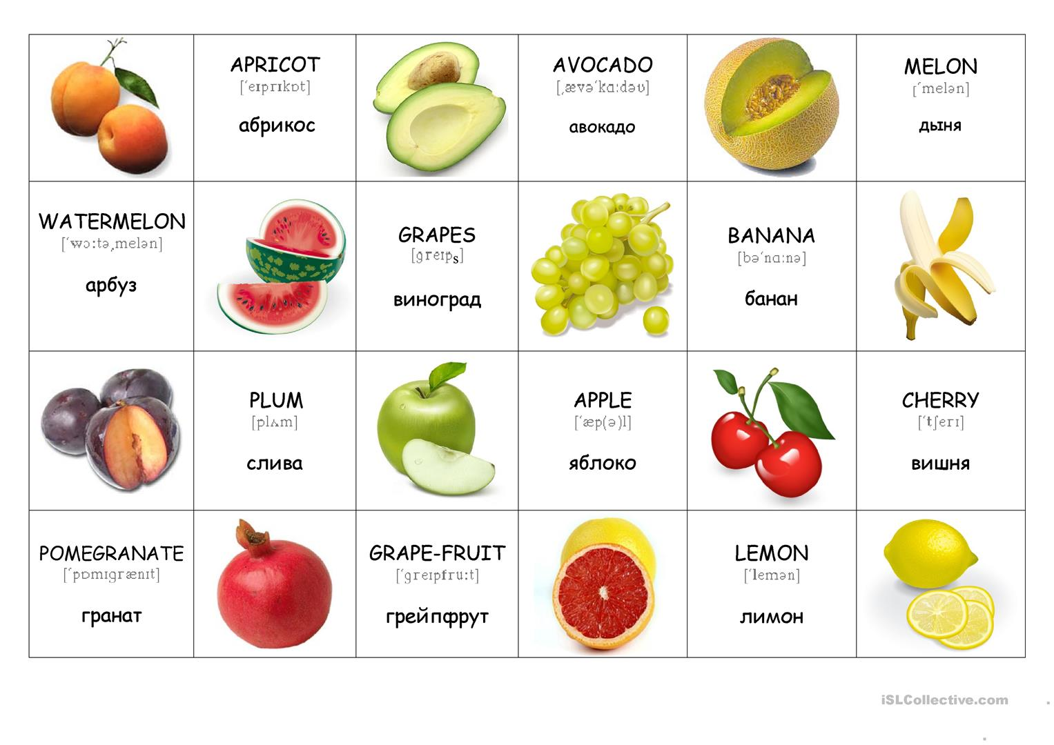 Fruit Flashcards Worksheet