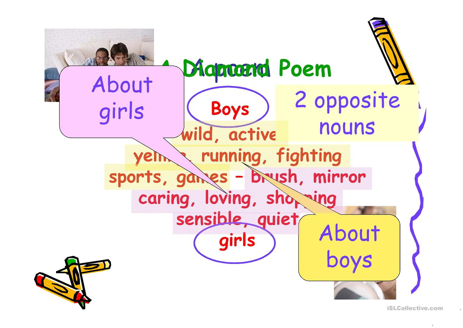 Writing A Diamante About Difference Between Boys And Girls